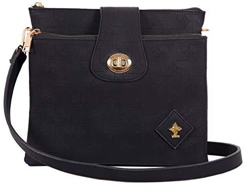 Umhängetasche Damen Crossbody | Handtasche elegant zum Umhängen | Kleine Damen-Handtasche vegan mit vielen Fächern | PHIL+SOPHIE (Schwarz)