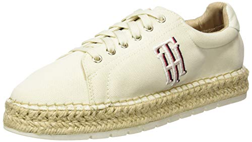 Tommy Hilfiger Damen Nautical TH LACE UP Espadrille Peeptoe Pumps, Weiß (Ivory Ybi), 38 EU
