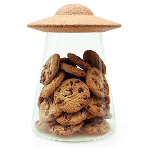 Suck UK UFO Food Containers With Lids  Cookie Jar  Glass Pantry Storage One Size