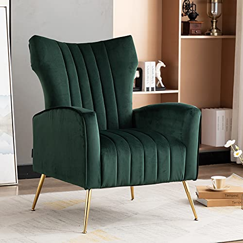 Artechworks Modern Velvet Armchairs Wing Back Occasional Accent Lounge Chair Single Sofa Gold Metal Legs Upholostered Furniture for Living Room Bedroom Home Office Conservatory Dark Green