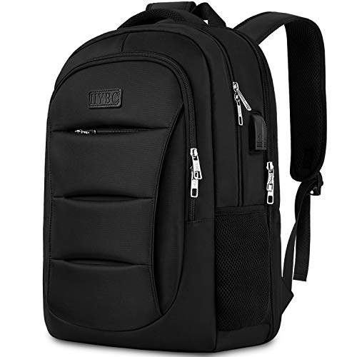 Business Laptop Backpack, TSA Friendly Travel Laptop Rucksack with USB Charging Port, Water Resistant College School Compurter Rucksack Bag for Boys & Girls, Fits 15.6 Inch Laptop Notebook - Black