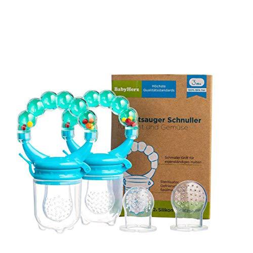 Baby Fruchtsauger Schnuller für Obst und Gemüse - Aus Premium Silikon zu 100{d0f37a0d07ead5a72e52ef74f30b50ba0c5d7a16cbb2fe7f9db0993aebbe7604} BPA-frei - Fruchtschnuller Set (Blau)