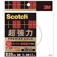 (まとめ) 3M スコッチ 超強力両面テープ プレミアゴールド (スーパー多用途) 25mm×3m SPS-25 1巻 【×4セット】