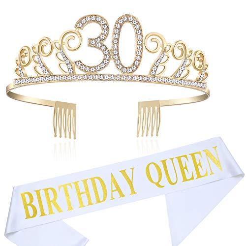 Coucoland Geburtstag Krone mit Geburtstag Schärpe Satin Birthday Crown and Sash Set Geburtstagsdeko Geschenk für Damen Geburtstag Party Accessoires (30 Jahre alt - Gold)