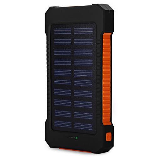 MaNMaNing Batería Solar Portátil 30000mAh Cargador Solar USB Dual Cargador de Batería Externo (-Naranja)