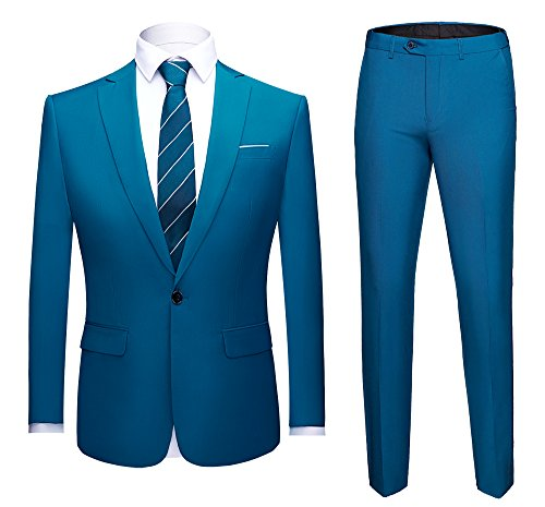 WULFUL Men's Suit One Button Slim Fit