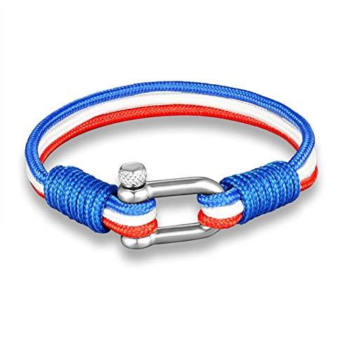 KJFUN Nationale Vlag Geweven Roestvrij Staal Meerlaags Touwarmband Anker Survival Armbanden Heren Dames Sieraden