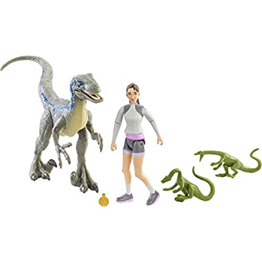 Jurassic World Human & Dino Pack Yasmina Yaz & Velociraptor Action Figures 3 Compys & Accessory, Camp Cretaceous Movable…