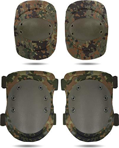 normani Tactical Protektorenschutz Ellenbogenschützer und Knieschützer für Paintball Farbe Flecktarn