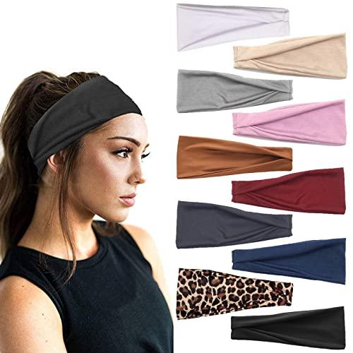10PCS Donne Yoga Running Fasce Sport Workout Hairbands Accessori per capelli elastici antiscivolo