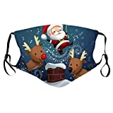 Bandana respirant pour adultes, motif de Noël 3D réutilisable, protection contre la poussière, lavable en bouche, tissu en coton