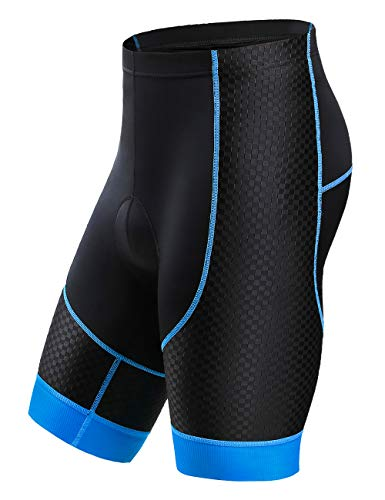 Letook Breathable Gel Padded Bike Shorts Men Comfortable Professional Road Cycling Bicycle Riding Shorts with Padding 100006 Blue L