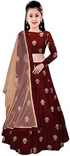 Anneca fashion Girl's crepe Silk maroon colour Semi-Stitched girl's Lehenga Choli for 10-15 Year Girls (12-13 Years)