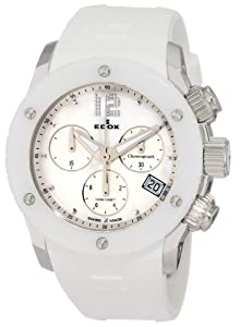 Edox Women's 10403 3B NAIN Class 1 White Ceramic Mother-Of-Pearl Chronograph Rubber Watch