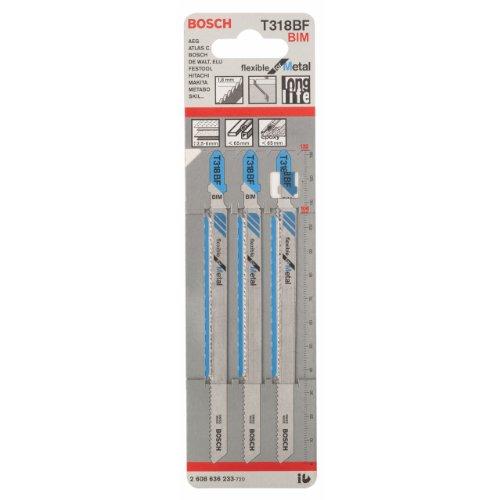 Bosch lame de scie sauteuse pour le mÃtal T 318 BF BIM Flexible for Metal 3 pièces 2608636233