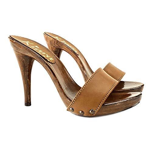 Kiara Shoes Zoccoli Handmade Alti Cuoio - KM7203-CUOIO (37 EU, Cuoio)