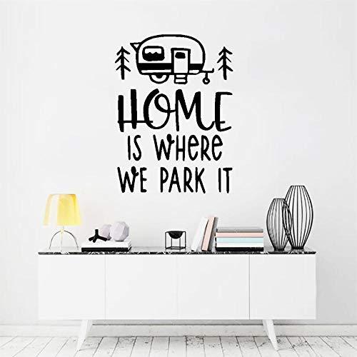 Muursticker Home is Waar we Stop het Vinyl Muursticker Reizen Bus Stijl Muur Art Mural Verwijderbare Muursticker Home Interieur Decoratie 57x77cm