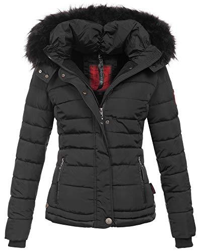 Navahoo warme Damen Winter Jacke Parka Mantel Stepp Kurzjacke gefüttert B301 [B301-Schwarz-Gr.XS]