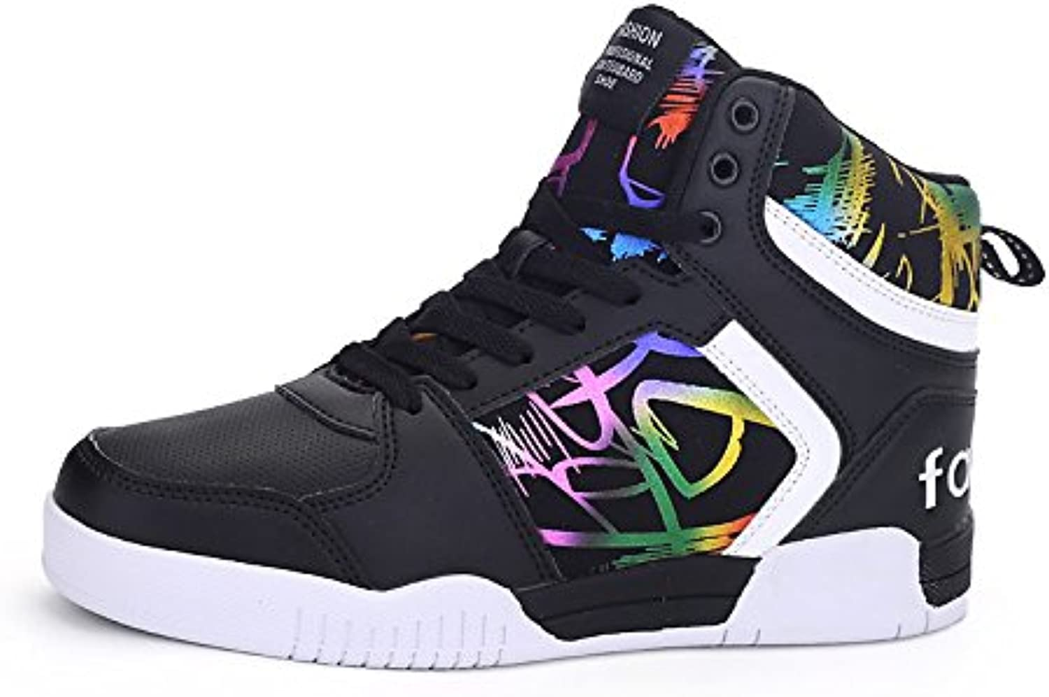 DIMAOLV Men's shoes Synthetic Microfiber PU Tulle Spring Summer Fall Comfort Sneakers for Casual Outdoor White Black Red,Black,US10   EU43   UK9   CN44