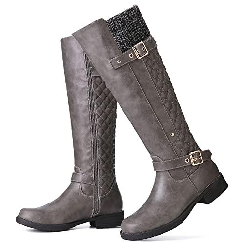 gracosy Rodilla Alta Botas Mujer Tacón Bajo Zapato Señoras Nieve Botas Mujer Botas de Cuero Piel Forrado Invierno Cálidas Antideslizante Hermoso Cremallera Casuales