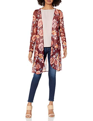 Star Vixen Women's Long Sleeve Lightweight Mesh Open Cardigan, Burgundy Ground Floral, L
