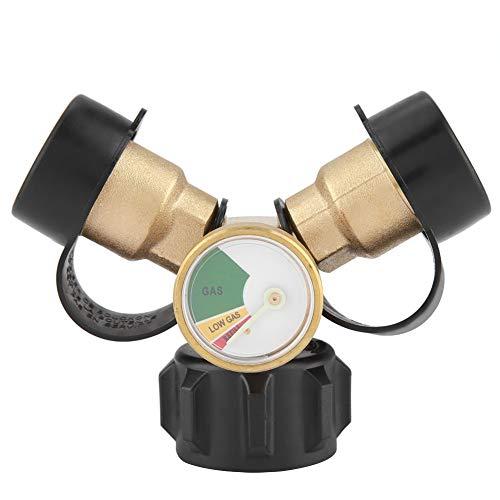 DFKEA Conector de propano, latón BBQ Adaptador de propano Conector Adaptador en Forma de T Divisor en Y con medidor de presión de Tanque