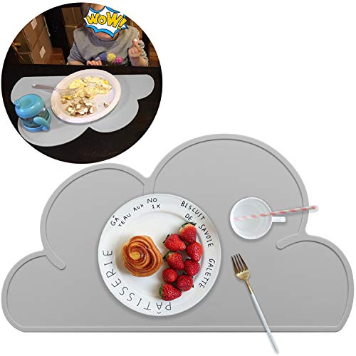 Silicone Placemats for Kids Toddlers Baby Non-Slip, Reusable BPA Free Portable Kid Food Mat, Cloud Shape Placemats for Home, Restaurants, Travel and High Chairs - Easy to Clean and Roll Up, Gray