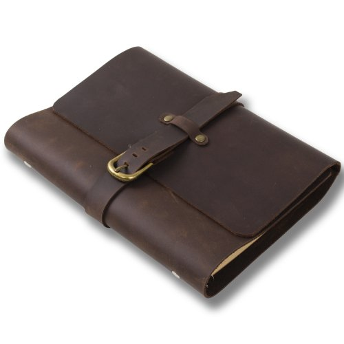 Ancicraft Leather Refillable Journal for Men Women A5 Binder Diary Planner Agenda 6-Ring with Vintage Buckle Lined Craft Paper (Dark Brown with Buckle A5)