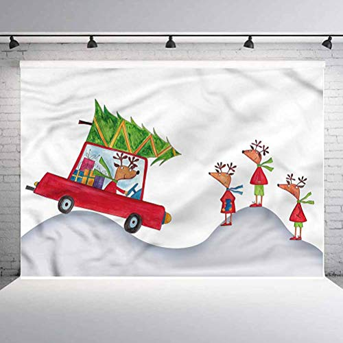 8x8FT Vinyl Backdrop Photographer,Christmas,Reindeer Family Noel Background for Party Home Decor Outdoorsy Theme Shoot Props
