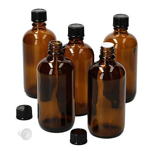 MamboCat 5tlg.-Set Miniaturflaschen mit Tropfer 100 ml I Tropferflasche aus Braunglas I Apothekerfläschen mit Tropfeinsatz I UV-geschützte Medikamenten-Aufbewahrung I Wiederverwendbar