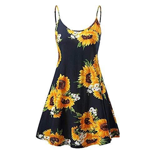 TWGONE - Vestidos de girasol para mujer, estilo informal, estilo vintage, sin mangas, con tiras, para playa, push-up, XL, Negro