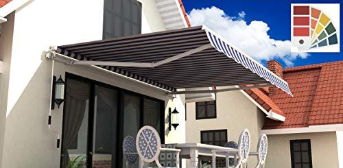 Schartec Gelenkarmmarkise M1100 in vielen Farben und Größen - manuelle Markise mit Handkurbel für Terasse und Balkon (250 x 200, grau)