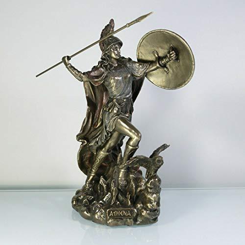 BeautifulGreekStatues Estatua de búho de la sabiduría de la Diosa Athena con escudo Medousa