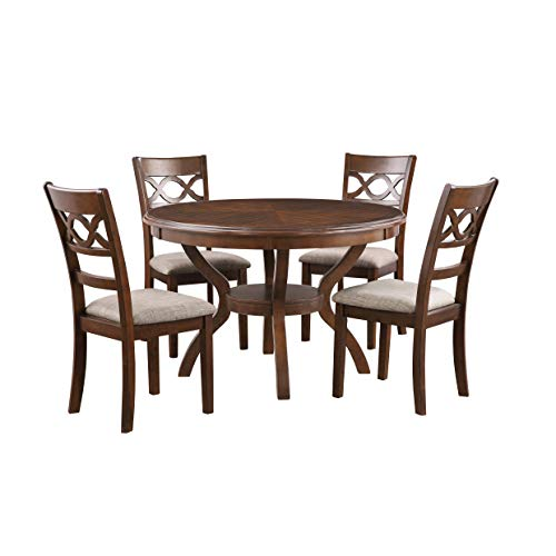 New Classic Furniture Cori 5-Piece Round Dining Table Set, Cherry