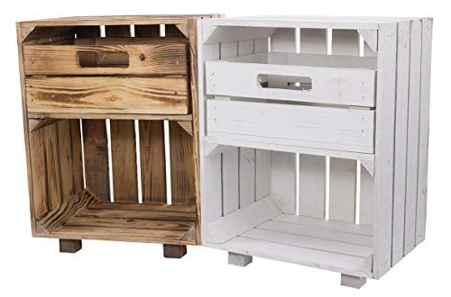 Moooble Vinterior nachtkastje met lade 1 x wit 1 x gevlamd 30,5 x 40 x 54 cm nachtkastje fruitkist wijnkist opbergruimte appelkist houten kist tafel hout klein