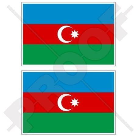 Azerbaijan Aserbaidschanische Flagge 100mm Auto Motorrad Aufkleber Vinyl Sticker X1 2 Bonus Garten