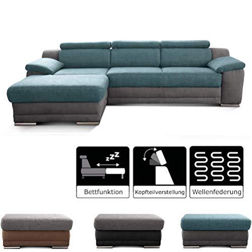 Cavadore Ecksofa Xenit mit Bett und verstellbaren Kopfstützen / Eckcouch mit Bettfunktion und Wellenunterfederung / Modernes Design / Größe: 271 x 81-94 x 168 cm (BxHxT) / Farbe: Blau - Grau