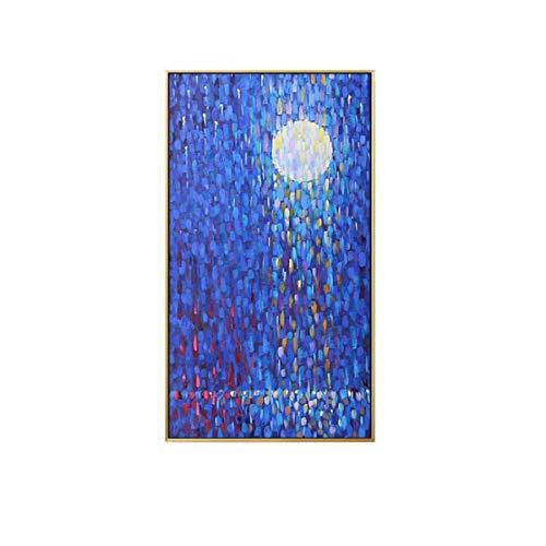 Jwqing Abstract maanlicht op de zeevloer Canvas schilderij Blauwe poster en drukmuur kunstschildering voor woonkamer kinderkamer wooncultuur (60x100cm zonder lijst)