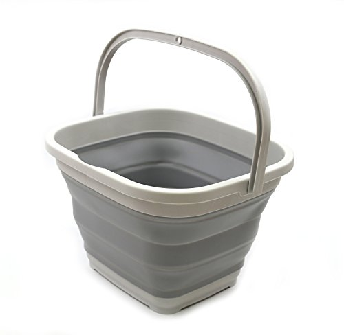 SAMMART 10L (2.6 gallon) Collapsible Rectangular Handy Basket/Bucket (1, Grey)