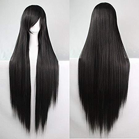 Femmes/Ladies 100cm Couleur noir longue Cosplay DROITE/Costume/Anime/Fête/Bangs pleine perruque sexy