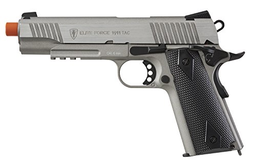 Elite Force 1911 Blowback 6mm BB Pistol Airsoft Gun, 1911 TAC, Silver/Black