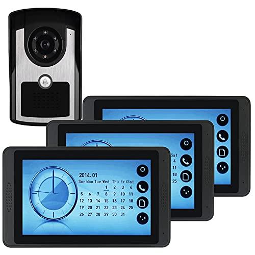 Videoportero, intercomunicador, sistema de seguridad para el hogar, videoportero con cable, monitor de pantalla táctil de 7 pulgadas, cámara de visión nocturna por infrarrojos,1camera+3display