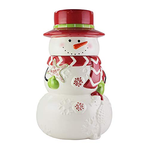 American Atelier Holiday Cookie Jar – Winter Snowman Ceramic Jar Canister with Airtight Lid for Cookies, Candies, Chocolates, Coffee, Tea & More – Unique Gift Idea for Christmas or Birthday – X Large