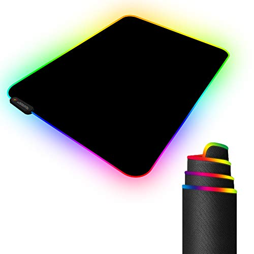 "RGB Gaming Mouse Pad with 11 RGB Light up Modes,LED Gaming Pad,Non-Slip Rubber Based Computer Mice mat Medium Size(13.7"" x 10.3"")"