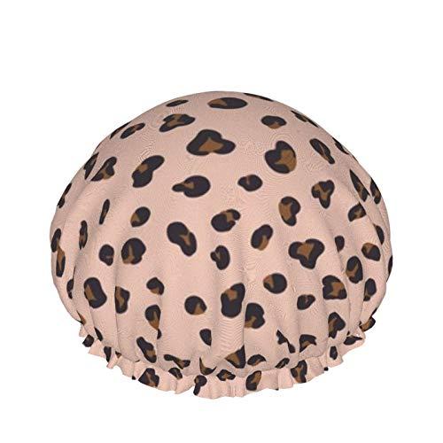 Gorro de ducha impermeable de doble capa reutilizable gorro de ducha gorro de baño, guepardo en color rosa, protección del medio ambiente, sombreros para mujeres y niñas