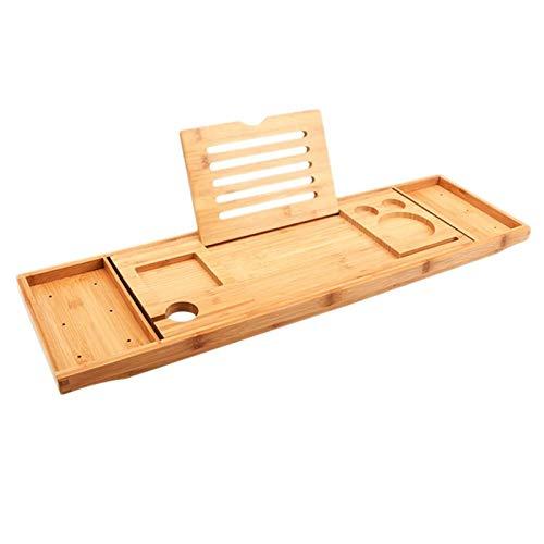 FHKBK Bandeja de Servicio de bañera multifunción Puente de baño de bambú Estante de Almacenamiento útil Estante Telescópico para Tableta para baño en casa (Color: Amarillo, Tamaño: 105X2