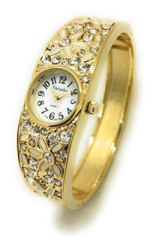 Ladies Floral Flower Rhinestones Elegant Metal Bangle Cuff Fashion Watch Versales (Gold)