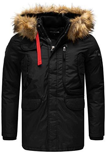 Redbridge Herren Parka Jacke Mantel Big Pocket Lange Winterjacke M6067A (XL, Schwarz)