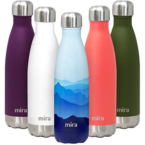 MIRA 17 Oz Insulated Reusable Water Bottle - Stainless Steel...