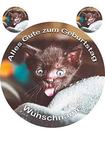 Katzen Baby, Tortenaufleger Tortenbild Geburtstag Fondant Zuckerpapier Ø 20cm /...